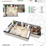 Планировка квартиры в ЖК BASPANA 39,35